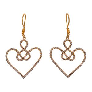 925 Sterling Silver Celtic Wire Knot Heart Flash Gold Plating CZ Earring