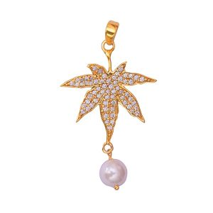 Gold Plated White Pearl CZ Stone Jewelry Maple Design Pendant