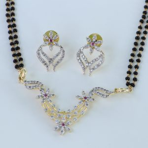 Fashion Gold Plated CZ Stone Flower Mangalsutra