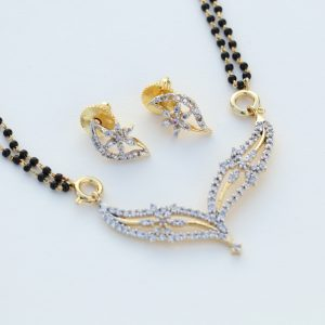 Fashion Gold Plated Floral Design CZ Stone Mangalsutra