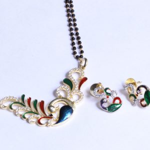 Gold Plated Black Beads Multicolor Peacock Mangalsutra