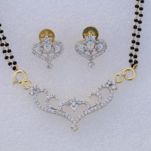 Multipurpose Gold Plated White CZ Designer Mangalsutra With Earrings