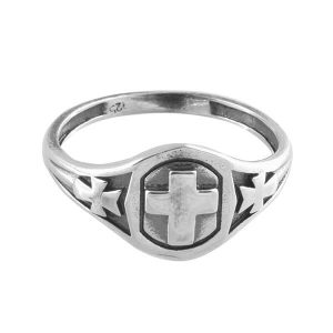 925 Sterling Silver Oxidized Christian Cross Ring