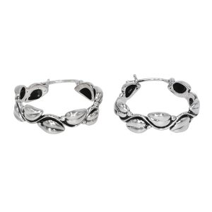 925 Sterling Silver Traditional Hoop Bali Earring Oxidized Jewelry For Girls Women