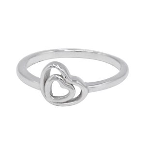 Valentine Gift Couple Heart Design Ring 925 Sterling Silver Jewelry