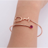 925 Sterling Silver Heart Beat Rose Gold Stethoscope Bangle For Nurse Doctor-3