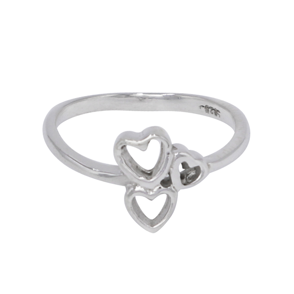 925 Sterling Silver Heart Design Ring Jewelry For Girls