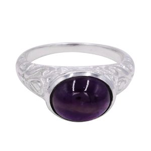 Fashion Gemstone Silver Plated Filigree Design Ring Jewelry For Men's