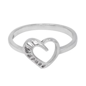 925 Sterling Silver Heart Design Ring For Valentine Jewelry