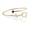 Heart Beat Gold look Stethoscope Cuff Bangle Medical Jewelry for Nurse Doctor-4