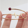 Heart Beat Gold look Stethoscope Cuff Bangle Medical Jewelry for Nurse Doctor-5