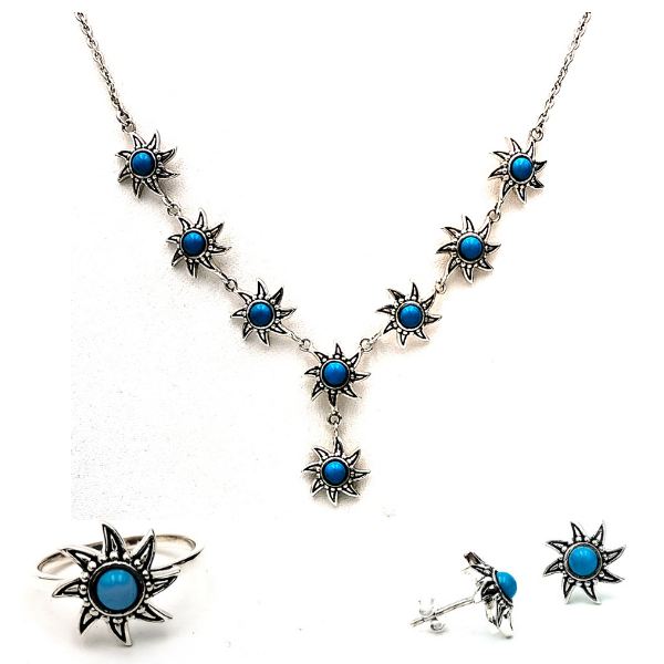 Fashion Oxidized Silver-Plated, Turquoise Blue Stones Necklace Jewellery Set in Floral Pattern
