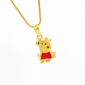 925 Silver Peppa Pig Gold Plated Pendant for Kids