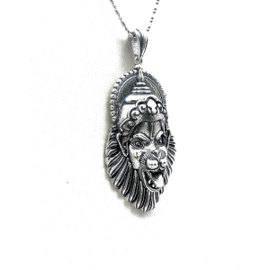 925 Sterling Silver Lord Laxmi Narasimha Swamy Oxidized Pendant for Men Boys