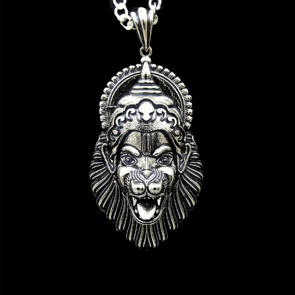 Fashion Silver Plated Lord Laxmi Narasimha Swamy Oxidized Pendant for Men Boys