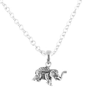 925 Silver Oxidized Elephant Pendant With Chain