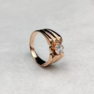 White Zircon Ring Stone 925 Silver Rose Gold Plated Ring
