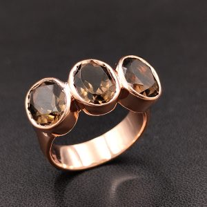 925 Silver In Rose Gold Ring With Smoky Stone With Brown Stone