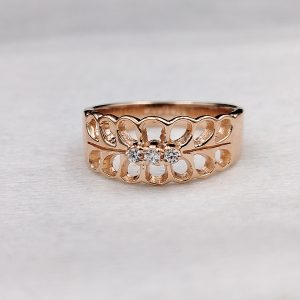 Rose Gold Plating In Sterling Silver White Zircon Stone Ring