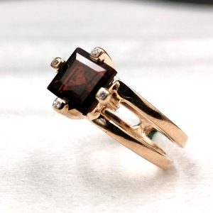 925 Sterling Silver In Rose Gold With Garnet Stone Ring For Women & Girlfriend