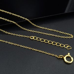 925 Silver Anchor Gold Plated Chain Necklace 1.20 MM