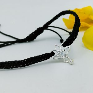 925 Silver Auspicious Silver Charm Lotus Bracelet with Adjustable Strap for Girl's-1
